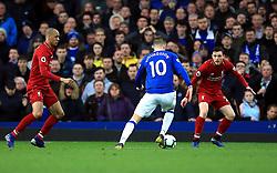 Everton's Gylfi Sigurdsson (centre) in action during the Premier League match at Goodison Park, Liverpool.