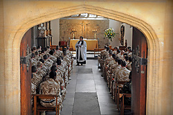 """21/05/2010..The soldiers attend a service in the Chapel Royal of St Peter Ad Vincula...An historic medal presentation took place at the Tower of London. It is the first presentation of its kind ever to be held there.....150 mainly Royal Signals Officers and Soldiers who have just returned from Afghanistan were presented their Afghan Medals by General Cima, the Governor of The Tower of London. The men and women are part of 11 Light Brigade who have had a successful tour working with the local population in Afghanistan. ..In a chapel service for the soldiers in the Queens Chapel Padre Mark Christian reflected on the months gone past, the role completed and on friends and colleague lost and injured. ..Family and friends crowded around the presentation and cheered and applauded. General Cima in an address to the gathering said it ..""""...had been a bloody and brutal war, probably the worst the country has been involved in since Korea"""" he went on to say that the soldiers should be 'thoroughly proud of themselves"""" before saluting them..."""