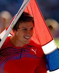 Andreas Thorkildsen of Norway celebrates after winning the men's Javelin Throw Final during day nine of the 12th IAAF World Athletics Championships at the Olympic Stadium on August 23, 2009 in Berlin, Germany. (Photo by Vid Ponikvar / Sportida)