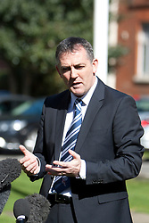 © Licensed to London News Pictures. 19/03/2012. London, U.K..Owen Coyle, Bolton manager gives a press conference this a.m. 19/3/2012 outside the entrance to the London chest Hospital after visiting Fabrice Muamba this morning who is still in hospital after suffering A cardiac arrest in the FA Cup match Saturday 17/3/2012 at White Heart Lane against Tottenham Hotspur..Photo credit : Rich Bowen/LNP