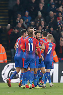 GOAL 1-0 Crystal Palace striker Jordan Ayew (14) celebrates his goal and is surrounded by his teammates during the The FA Cup 3rd round match between Crystal Palace and Grimsby Town FC at Selhurst Park, London, England on 5 January 2019.