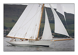 Fyne  1889  Gaff Cutter..The Round the Cumbraes race to open the regatta. Light variable breeze and grey skies shrouded the fleet with a strong spectator fleet...* The Fife Yachts are one of the world's most prestigious group of Classic .yachts and this will be the third private regatta following the success of the 98, .and 03 events.  .A pilgrimage to their birthplace of these historic yachts, the 'Stradivarius' of .sail, from Scotland's pre-eminent yacht designer and builder, William Fife III, .on the Clyde 20th -27th June.   . ..More information is available on the website: www.fiferegatta.com . .Press office contact: 01475 689100         Lynda Melvin or Paul Jeffes