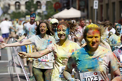 June 4, 2017 - Kiev, Ukraine - People take part in the Color Run in Ukrainian capital of Kiev on June 4, 2017. From the first event in the United States in January 2012 The Color Run has since spread across the globe leaving a trail of color and happy runners. (Credit Image: © Str/NurPhoto via ZUMA Press)