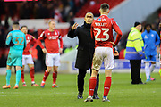Nottingham Forest Head Coach Sabri Lamouchi  consoles Nottingham Forest midfielder Joe Lolley  after the game during the EFL Sky Bet Championship match between Nottingham Forest and Queens Park Rangers at the City Ground, Nottingham, England on 22 February 2020.