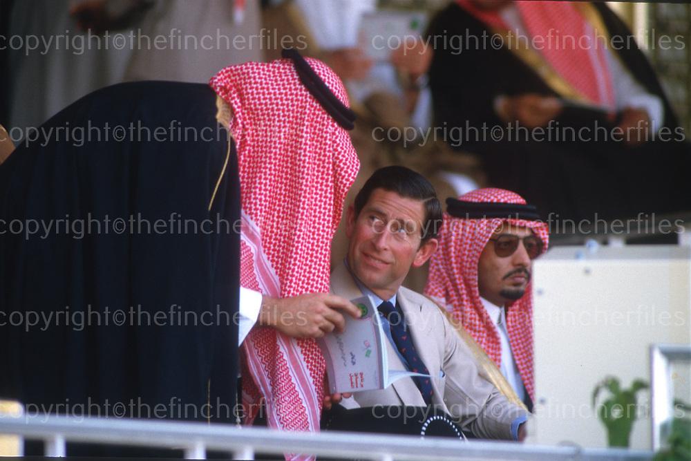 Charles, The Prince of Wales seen in Riyadh, Saudi Arabia in November 1986. Photograph by Jayne Fincher
