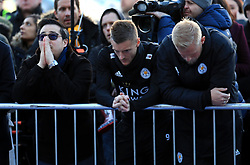 Aiyawatt Srivaddhanaprabha, Jamie Vardy and goalkeeper Kasper Schmeichel pay tribute to club chairman Vichai Srivaddhanaprabha, who was among those to have tragically lost their lives on Saturday evening when a helicopter carrying him and four other people crashed outside King Power Stadium.