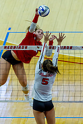 BLOOMINGTON, IL - August 13:  Sarah Kushner during a college Women's volleyball Scrimmage of the Illinois State Redbirds on  August 13 2021 at Illinois State University in Normal, IL. (Photo by Alan Look)