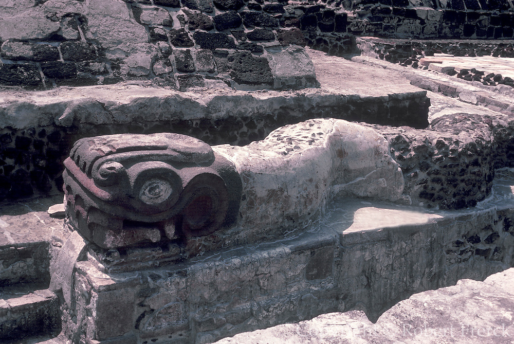 MEXICO, MEXICO CITY, AZTEC CULTURE Museum of the Great Temple in the Z�calo or Main Square, carved figure in the form of a feathered serpent