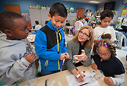 Elizabeth Meaux teaches teaches science to her 1st grade class at Oak Forest Elementary School, May 3, 2013.