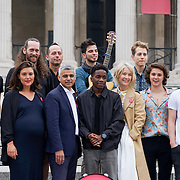 London,England,UK, 22th July 2016 : Mayor of London Sadiq Khan Launch of International Busking Day Join forces with chart-topping music stars to tell the world's artists that #LondonIsOpen in Trafalgar Square, London, UK. Photo by See Li