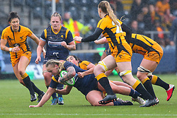 Alex Callender of Worcester Warriors Women is brought to ground - Mandatory by-line: Nick Browning/JMP - 24/10/2020 - RUGBY - Sixways Stadium - Worcester, England - Worcester Warriors Women v Wasps FC Ladies - Allianz Premier 15s