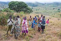 Mozambican children on the slopes of Mount Gorongosa, Gorongosa Mountain, Inhambane Province, Mozambique