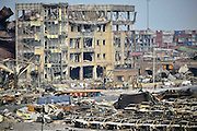 TIANJIN, CHINA - AUGUST 17: (CHINA OUT) <br /> <br /> Image shows the blast site after the warehouse explosion on August 17, 2015 in Tianjin, China. The death toll rose to 114 on Monday after the last Wednesday night\'s explosion of a warehouse in Binhai New Area of Tianjin.<br /> ©Exclusivepix Media