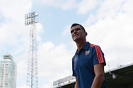 FILE pic of Marinus Dijkhuizen who has been sacked by Brentford on  28/9/2015. Marinus Dijkhuizen, the Brentford head coach arrives at Griffin Park before k/o. Skybet football league Championship match, Brentford v Ipswich Town at Griffin Park in London on Saturday 8th August 2015.<br /> pic by John Patrick Fletcher, Andrew Orchard sports photography.