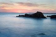 misty waves at Corona Del Mar beach Newport Beach California USA