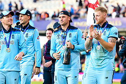 Jason Roy of England, Ben Stokes of England, Eoin Morgan of England and Joe Root of England celebrate winning the ICC Cricket World Cup - Mandatory by-line: Robbie Stephenson/JMP - 14/07/2019 - CRICKET - Lords - London, England - England v New Zealand - ICC Cricket World Cup 2019 - Final