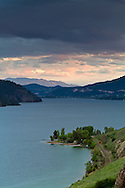 Sunset after a brief storm at Kalamalka Lake near Vernon, British Columbia, Canada