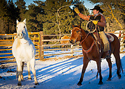 Cowboy in corral chasing a horse with his lasso on a ranch in northeastern Wyoming