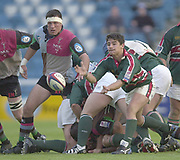 Twickenham, Surrey, England,  UK., 14/05/2003, HARRY ELLIS, CLEARS THE BALL FROM THE BASE OF THE SCRUM, during, the Zurich Premiership Rugby match, NEC Harlequins vs Leicester Tigers, played at the Stoop Memorial Ground, [Mandatory Credit: Peter Spurrier/Intersport Images]