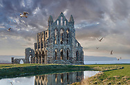 BY THE SEA - WHITBY -  colour photo art by Paul Williams  of Whitby Abbey at sunset .<br /> <br /> Visit our REPORTAGE & STREET PEOPLE PHOTO ART PRINT COLLECTIONS for more wall art photos to browse https://funkystock.photoshelter.com/gallery-collection/People-Photo-art-Prints-by-Photographer-Paul-Williams/C0000g1LA1LacMD8