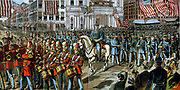Union soldiers and band marching through a city street on their way to join the Civil War. (Gettysburg). [between 1880 and 1900] (poster) : woodcut showing Civil War, 1861-1865, Military mobilization.