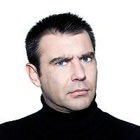 caucasian man portrait angry mistrust suspicious studio isolated white background