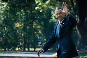 """President Barack Obama waves to the media as he makes his way to Marine One on the South Lawn of the White House as he travels to join Education Secretary Arne Duncan for his sixth annual """"Back-to-School bus tour,"""" in Des Moines, Iowa U.S., on Monday, Sept. 14, 2015.  Obama and Duncan will host a town hall at North High School to discuss college access and affordability as well as changes to the college financial aid system to allow more flexible deadlines. Photo: Pete Marovich/Bloobmerg/Pool"""