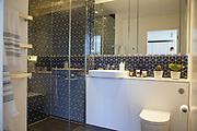 A bathroom in one of the show apartments at the at the Television Centre Pavilion, Shepherd's Bush, London, UK CREDIT: Vanessa Berberian for The Wall Street Journal. TVCENTRE