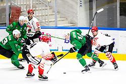 Mark Sever of HK SZ Olimpija and Saso Rajsar of HDD SIJ Acroni Jesenice during ice hockey match between HK SZ Olimpija and HDD SIJ Acroni Jesenice in fifth game of Final at Slovenian National League, on May 10, 2021 in Hala Tivoli, Ljubljana, Slovenia. Photo by Matic Klansek Velej / Sportida