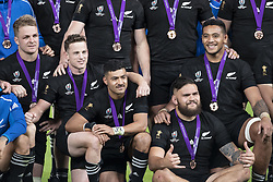 November 1, 2019, Tokyo, Japan: Players of New Zealand team pose for the cameras after win the Bronze Final match between New Zealand and Wales during the Rugby World Cup 2019 at Tokyo Stadium. New Zealand defeats Wales 40-17. (Credit Image: © Rodrigo Reyes Marin/ZUMA Wire)