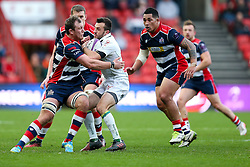 Charly Malie of Pau is tackled by Nick Koster of Bristol Rugby - Rogan Thomson/JMP - 11/12/2016 - RUGBY UNION - Ashton Gate Stadium - Bristol, England - Bristol Rugby v Pau - European Rugby Challenge Cup.