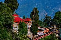 Inde, Bengale Occidental, Darjeeling, le monastere Bhutia Busty gompa // India, West Bengal, Darjeeling, Bhutia Busty Monastery (Gompa in tibetan)