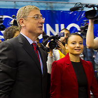 Ferenc Gyurcsany (C) former prime minister of Hungary arrives to the Foundation of the Democratic Coallition Party in Budapest, Hungary on October 22, 2011. ATTILA VOLGYI