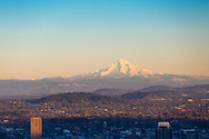 The view of Mt. Hood and downtown Portland, Oregon from Pittock Mansion in Forest Park