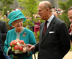 Britain's Queen Elizabeth II and Prince Philip, the Duke of Edinburgh, during a visit to the Fort settlement at Jamestown, Virginia on the second day of her state visit to the USA.