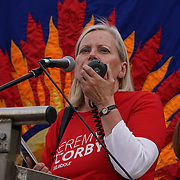 London,England,UK : 27th June 2016 : Speaker Christine Shawcroft addresses the crowd KeepCorbyn protest against coup and Build our movement  at Parliament Square, London,UK. photo by See Li