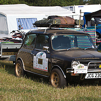 Mini 1275 GT with trailer, as seen at the Goodwood Festival of Speed 2013