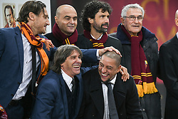 November 27, 2018 - Rome, Italy - Former AS Rome Italian players, Francesco Totti (L) , Bruno Conti (C) and Damiano Tommasi poses before the Champions league football match between AS Roma  and Real Madrid at Olimpico stadium in Rome, Italy, on November 27, 2018. (Credit Image: © Federica Roselli/NurPhoto via ZUMA Press)