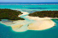 Mauritius Island. Tourquoise water from air. Ile aux Cerfs (Deer Island)