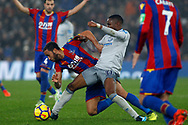 Ademola Lookman of Everton (R) fouls Andros Townsend of Crystal Palace (L). Premier League match, Crystal Palace v Everton at Selhurst Park in London on Saturday 18th November 2017.<br /> pic by Steffan Bowen, Andrew Orchard sports photography.