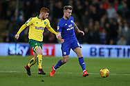 Joe Ralls of Cardiff city ® goes past Harrison Reed of Norwich city (l).EFL Skybet championship match, Cardiff city v Norwich city at the Cardiff city stadium in Cardiff, South Wales on Friday 1st December 2017.<br /> pic by Andrew Orchard, Andrew Orchard sports photography.