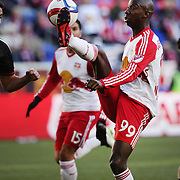 Bradley Wright-Phillips, New York Red Bulls, brilliantly brings the ball under control before scoring his sides first goal during the New York Red Bulls Vs D.C. United, Major League Soccer regular season opening match at Red Bull Arena, Harrison, New Jersey. USA. 22nd March 2015. Photo Tim Clayton