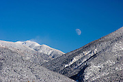 Moonrise over Taos Mountain in winter