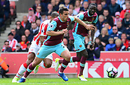 Jonathan Calleri of West Ham in action.  Premier league match, Stoke City v West Ham Utd at the Bet365 Stadium in Stoke on Trent, Staffs on Saturday 29th April 2017.<br /> pic by Bradley Collyer, Andrew Orchard sports photography.