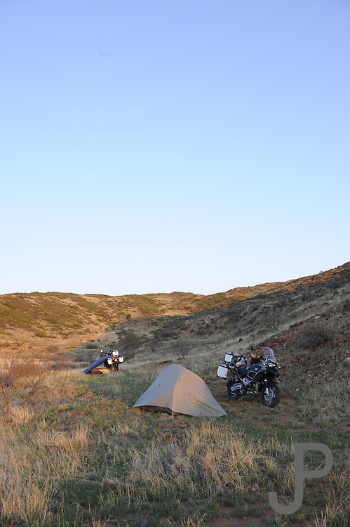 James Pratt and Bill Dragoo camping on BMW R1200GS motorcycles in New Mexico
