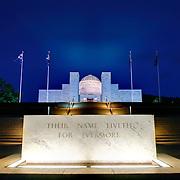 Night shot of the Australian War Memorial in Canberra, ACT, Australia