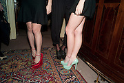 SALONI LODHA; CHARLOTTE DELLAL; MARGOT STILLEY, Screening of 'To Die For' to launch Charlotte Olympia's new collection at Mark's Club. London.  22 February 2011. -DO NOT ARCHIVE-© Copyright Photograph by Dafydd Jones. 248 Clapham Rd. London SW9 0PZ. Tel 0207 820 0771. www.dafjones.com.