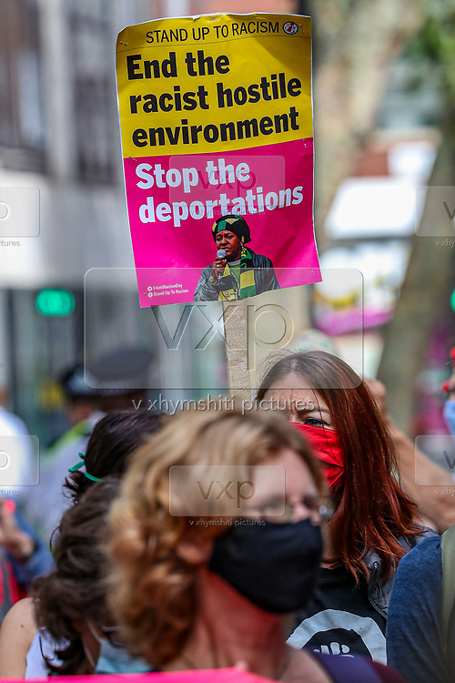 Extinction Rebellion protestors swarmed Marsham Street, outside the Home Office in central London on Friday, Sept 4, 2020 - after a group of 10 activists chained themselves outside Home Office.<br /> Marsham street remains both ways closed by the police. There are other Extinction Rebellion protests ongoing in London. Environmental nonviolent activists group Extinction Rebellion enters its 4th day of continuous ten days protests to disrupt political institutions throughout peaceful actions swarming central London into a standoff, demanding that central government obeys and delivers Climate Emergency bill. (VXP Photo/ Vudi Xhymshiti)