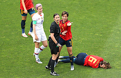 Spain's Victoria Losada (right) on the floor as team-mate Marta Corredera speaks to referee Katalin Kulcsar