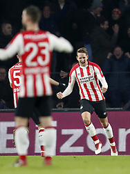 (L-R) Daniel Schwaab of PSV, Bart Ramselaar of PSV, Luuk de Jong of PSV during the Dutch Eredivisie match between PSV Eindhoven and PEC Zwolle at the Phillips stadium on February 03, 2018 in Eindhoven, The Netherlands